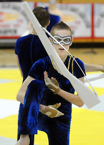 Weston Schutt executes rifle maneuvers during Legacy's Color Guard performance at the Rocky Mountain Color Guard Association state competition at Legacy  on Saturday.  March 27, 2010 Staff photo/David R. Jennings