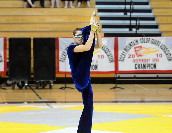 Senior Jeffrey Hargis dances during Legacy's Color Guard performance at the Rocky Mountain Color Guard Association state competition at Legacy  on Saturday.<br /> <br /> March 27, 2010<br /> Staff photo/David R. Jennings