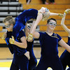 Jeff Martin carries  Beverly Houston on his shoulders during Legacy's Color Guard performance at the Rocky Mountain Color Guard Association state competition at Legacy  on Saturday.<br /> <br /> <br /> March 27, 2010<br /> Staff photo/David R. Jennings