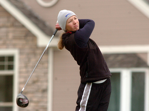 Sarah Hankins, Legacy, tees off on the third green during play at Coal Creek Golf Course on Wednesday. <br /> <br /> April 20, 2011<br /> staff photo/David R. Jennings