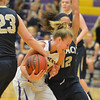 Boulder's Lena Jaycox looses the ball by Legacy's Caitlyn Smith and Mackenzie Neeley during Thursday's game at Boulder High.<br /> January 10, 2013<br /> staff photo/ David R. Jennings