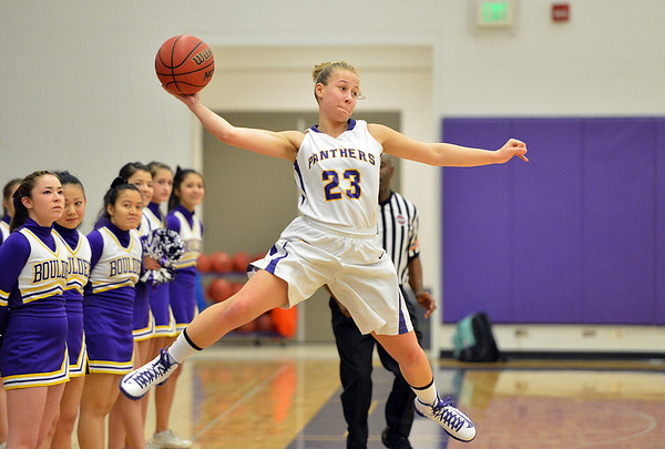 Boulder's Lena Jaycox throws the ball keeping it inbounds against Legacy during Thursday's game at Boulder High.<br /> January 10, 2013<br /> staff photo/ David R. Jennings