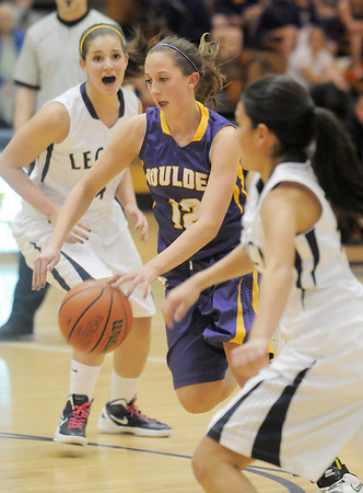 Boulder's Courtney Van Bussum drives the ball to the basket against Legacy during Friday's game at Legacy.<br /> January 6, 2012<br /> staff photo/ David R. Jennings
