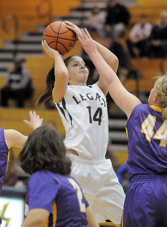 Legacy's Shayna Kuyper shoots the ball against Boulder's Ande Lampert during Friday's game at Legacy.<br /> January 6, 2012<br /> staff photo/ David R. Jennings
