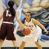Legacy's Mackenzie Neely defends against Horizon's Gabriela Jimenez during Thursday's girls game at Legacy.<br /> February 9, 2012<br /> staff photo/ David R. Jennings