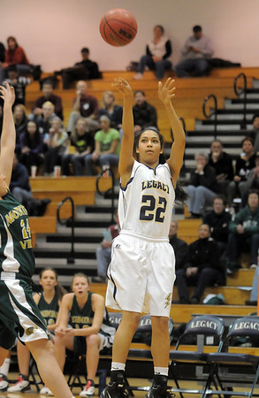 Kailey Edwards, Legacy, shoots long against Mountain Vista during Friday's 1st round of the state 5A girls playoffs at Legacy.<br /> February 25, 2011<br /> staff photo/David R. Jennings