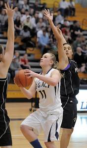 Legacy's Emily Glen goes to the basket past Prairie View during Saturday's state 5A playoff game at Legacy. February 24, 2012  staff photo/ David R. Jennings