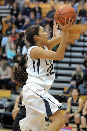 Legacy's Kailey Edwards goes to the basket against Prairie View during Saturday's state 5A playoff game at Legacy.<br /> February 24, 2012 <br /> staff photo/ David R. Jennings