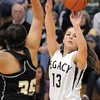Legacy's Jordan Salaz shoots the ball over Prairie View's Cierra Quinonez during Saturday's state 5A playoff game at Legacy.<br /> February 24, 2012 <br /> staff photo/ David R. Jennings
