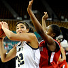 "LegacyVsRegis001.JPG Legacy High School senior Sade Akindele drives to the hoop on Friday, March 4, in a game against Regis Jesuit High School during the Colorado High School ""Great 8"" tournament at the Denver Coliseum. Legacy lost the game 59-67. For more photos go to  <a href=""http://www.dailycamera.com"">http://www.dailycamera.com</a><br /> Jeremy Papasso/ Camera"