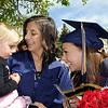 Kaylyn Little, center and Ashleigh Hansen talk to Little's cousin Marleigh Little, 3, after Wednesday's 10th Legacy HIgh School graduation at Coors Events Center at CU.<br /> May 19, 2010<br /> Staff photo/ David R. Jennings