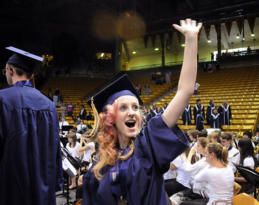 Tara Harding waves at her family during Wednesday's 10th Legacy HIgh School graduation at Coors Events Center at CU. May 19, 2010 Staff photo/ David R. Jennings