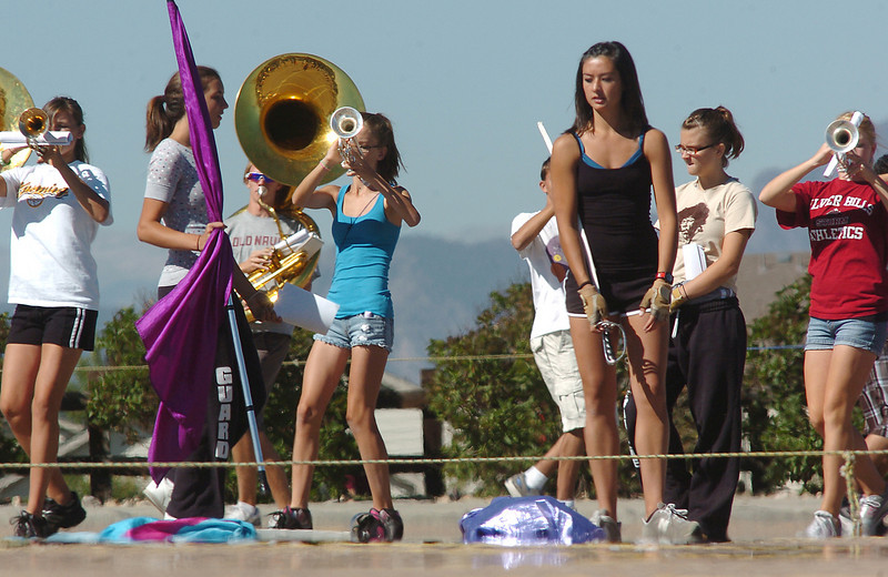 The Legacy High School band marches on the parking lot during Saturday's practice at the school.<br /> <br /> September 25, 2010<br /> staff photo/David R. Jennings