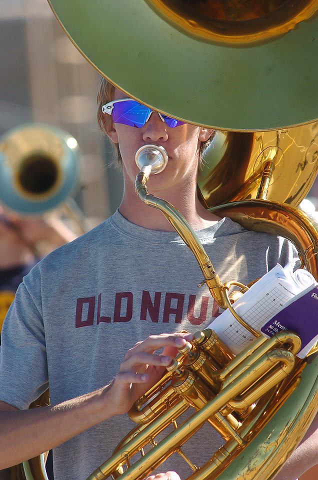 Ryan Smith plays the tuba for the Legacy High School band during Saturday's practice at the school.<br /> <br /> September 25, 2010<br /> staff photo/David R. Jennings