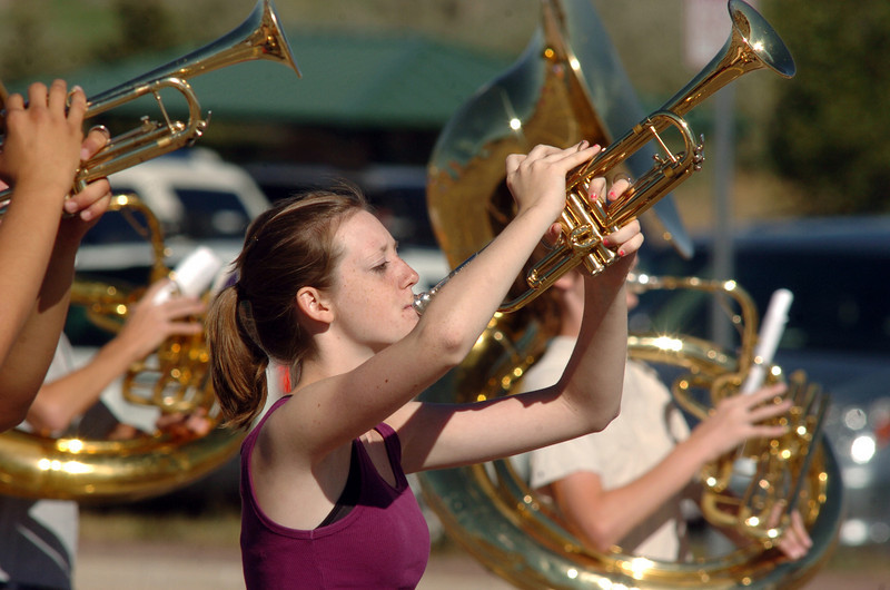 Legacy High School band member Shelly Jasica readies to play her trumpet while marching during Saturday's practice at the school.<br /> <br /> September 25, 2010<br /> staff photo/David R. Jennings