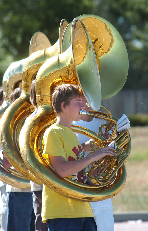 Legacy High School band member Andrew Durfee leads the tubas while marching during Saturday practice at the school.<br /> <br /> September 25, 2010<br /> staff photo/David R. Jennings