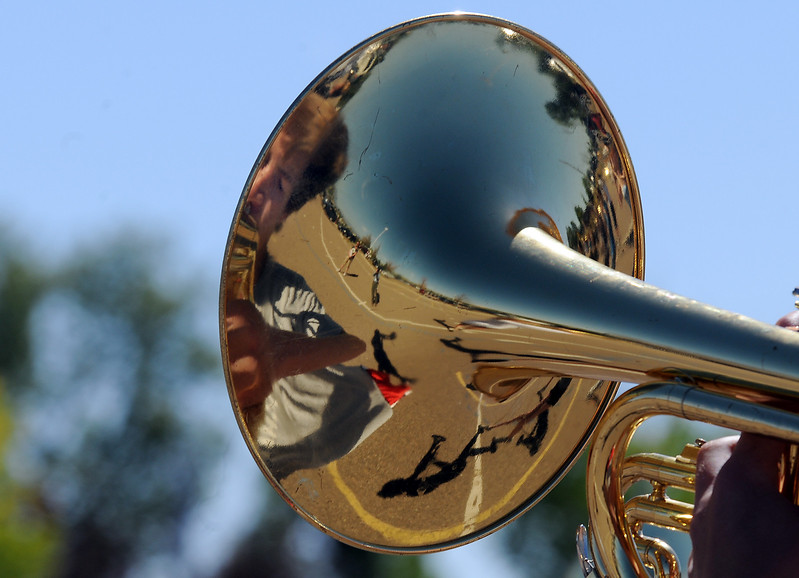 Legacy High School band is reflected in a mellophone during Saturday's practice at the school.<br /> <br /> September 25, 2010<br /> staff photo/David R. Jennings