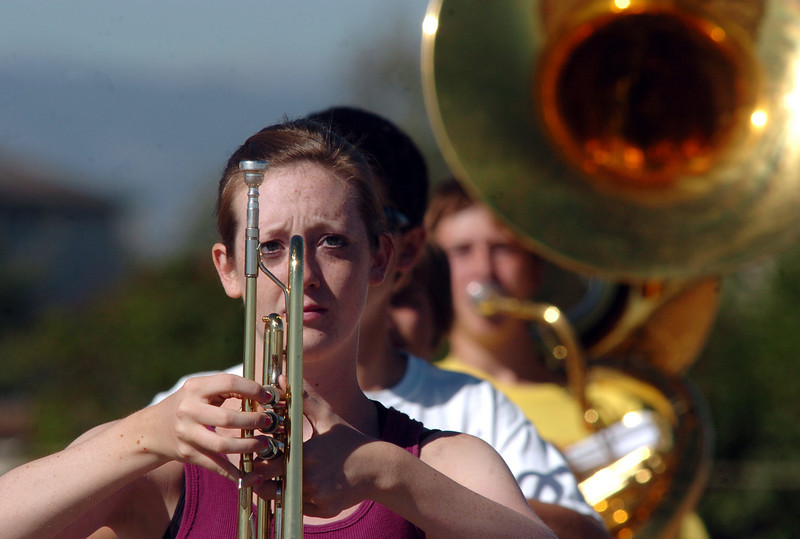 Legacy High School band member Shelly Jasica readies her trumpet while marching during Saturday's practice at the school.<br /> <br /> September 25, 2010<br /> staff photo/David R. Jennings
