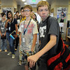 Dillon Trullinger, right, and Ethan Toth look at the library while touring the school during freshman orientation day at Legacy High School on Wednesday. <br /> <br /> August 19, 2009<br /> staff photo/David R. Jennings