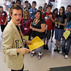 Tyler Archibald, student body president, leads a tour of the school during freshman orientation day at Legacy High School on Wednesday. <br /> <br /> August 19, 2009<br /> staff photo/David R. Jennings