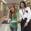 Principal Cathy Nolan, right, helps Brandi Wright  figure out where to go next during freshman orientation day at Legacy High School on Wednesday. <br /> <br /> August 19, 2009<br /> staff photo/David R. Jennings