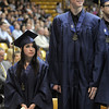 Brittany Leffel, left, stands next to classmate Mike Lehnerz during Legacy's graduation ceremony on Monday at Coors Event Center in Boulder.<br /> May 16, 2011<br /> staff photo/David R. Jennings