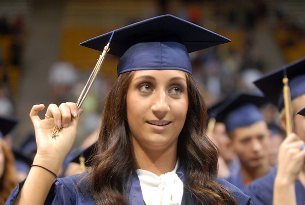 Carissa Loper waits for the signal to turn her tassel during Legacy's graduation ceremony on Monday at Coors Event Center in Boulder.<br /> May 16, 2011<br /> staff photo/David R. Jennings