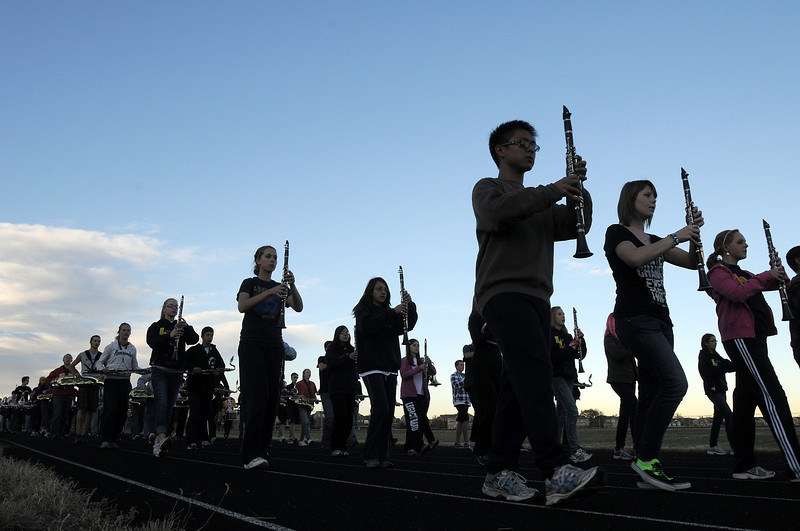 Legacy High Marching Band marches around the school's track during practice on Thursday as they prepare for the 2.5 mile Macy's Parade in New York.<br /> <br /> <br /> November 10, 2011<br /> staff photo/ David R. Jennings