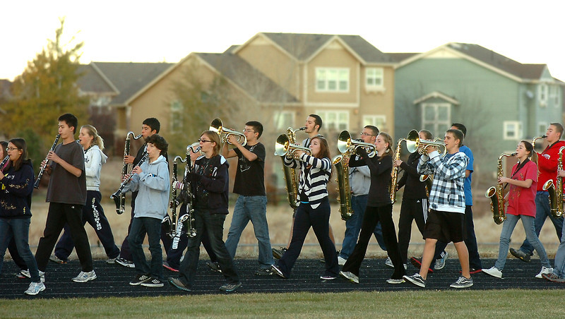 Legacy High Marching Band marches around the school's track during practice on Thursday as they prepare for the 2.5 mile Macy's Parade in New York.<br /> <br /> November 10, 2011<br /> staff photo/ David R. Jennings