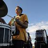 Drummer Jason Jensen, Legacy High Marching Band marches around the school's track during practice on Thursday.<br /> <br /> November 10, 2011<br /> staff photo/ David R. Jennings