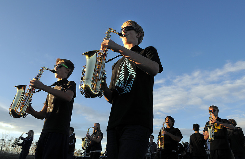 Saxophonists Kory Clark, left, and Mike Gough, Legacy High Marching Band, marches around the school's track during practice on Thursday.<br /> <br /> November 10, 2011<br /> staff photo/ David R. Jennings