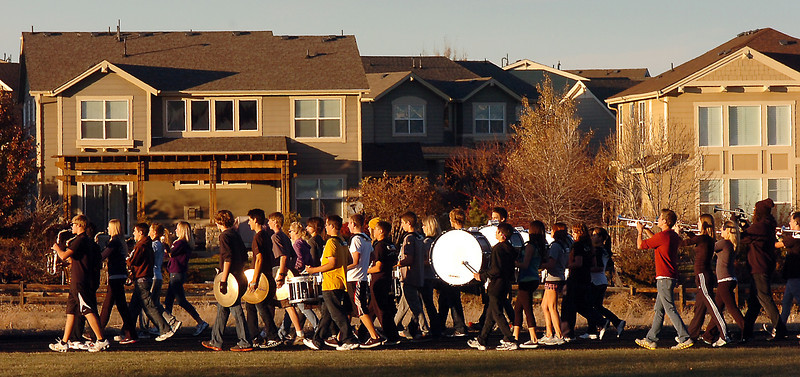 Legacy High Marching Band marches around the school's track during practice on Thursday.<br /> <br /> November 10, 2011<br /> staff photo/ David R. Jennings