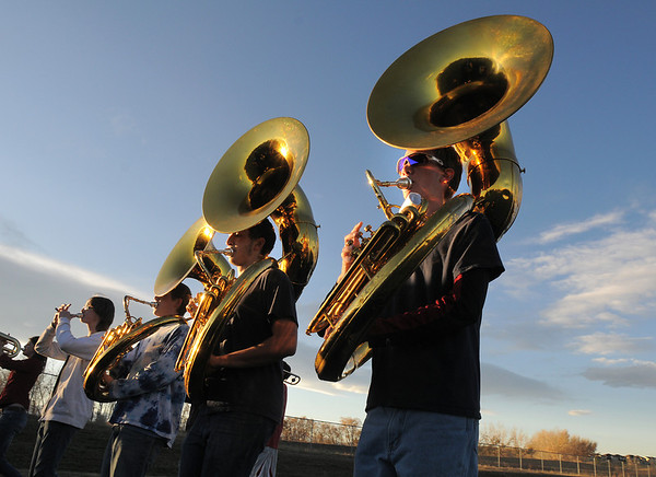 The Legacy High Marching Band tuba section marches around the school's track during practice on Thursday.<br /> <br /> November 10, 2011<br /> staff photo/ David R. Jennings