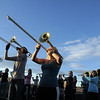 Legacy High Marching Band trombonist Michelle Crane plays while the band marches around the school's track during practice on Thursday.<br /> <br /> November 10, 2011<br /> staff photo/ David R. Jennings