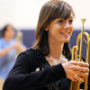 Shelley Jasica, Legacy High Marching Band, carries her trumpet during practice at the school on Tuesday for the band's trip to London.<br /> December 8, 2009<br /> Staff photo/David R. Jennings