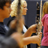 Flutist Caroline Collins marches inline during Legacy High Marching Band's practice at the school on Tuesday for the band's trip to London.<br /> <br /> December 8, 2009<br /> Staff photo/David R. Jennings