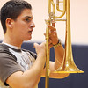 Trombonist Nathan Gonzales, Legacy High Marching Band, leads his line during practice at the school on Tuesday for the band's trip to London.<br /> December 8, 2009<br /> Staff photo/David R. Jennings