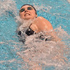 Legacy's Meghan Casey swims in the 100 yard backstroke during the dual meet between Monarch and Legacy at the Veterans Memorial Aquatic Center in Thornton on Thursday.<br /> December 20, 2012<br /> staff photo/ David R. Jennings