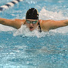 Monarch's Claudia Flores swims in the 100 yard butterfly during the dual meet between Monarch and Legacy at the Veterans Memorial Aquatic Center in Thornton on Thursday.<br /> December 20, 2012<br /> staff photo/ David R. Jennings