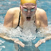Legacy's Mary Lombardi swims the breast stroke in the 200 yard IM during the dual meet between Monarch and Legacy at the Veterans Memorial Aquatic Center in Thornton on Thursday.<br /> December 20, 2012<br /> staff photo/ David R. Jennings