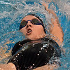 Monarch's Amanda Sanders swim in the 100 yard backstroke during the dual meet between Monarch and Legacy at the Veterans Memorial Aquatic Center in Thornton on Thursday.<br /> December 20, 2012<br /> staff photo/ David R. Jennings