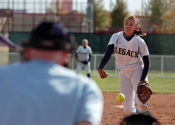 Legacy's Rainey Gaffin pitches against Brighton  in the state 5A softball championship on Saturday at the Aurora Sports Park. <br /> October 22, 2011<br /> staff photo/ David R. Jennings