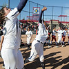 Legacy's Jessica Ball, left, and Rainey Gaffin give a cheer after defeating Brighton 4-1 in the state 5A softball championship on Saturday at the Aurora Sports Park. <br /> October 22, 2011<br /> staff photo/ David R. Jennings