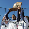 Legacy's Kelsey Dempsey, left, Rainey Gaffin and Jessica Ball hoist the state 5A championship trophy into the air after defeating Brighton 4-1 on Saturday at the Aurora Sports Park. This marks the 5th championship in a row for the LIghtning softball team.<br /> October 22, 2011<br /> staff photo/ David R. Jennings