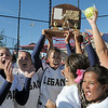 The Lightning celebrates with the trophy after defeating Brighton 4-1 in the state 5A softball championship on Saturday at the Aurora Sports Park. <br /> October 22, 2011<br /> staff photo/ David R. Jennings