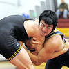 Legacy's Brett Nobori wrestles Thompson Valley's Cameron McCrimmon in the 182lb. weight class during the Windsor wrestling invitational tournament at Windsor High School on Saturday.<br /> For more photos please see broomfieldenterprise.com.<br /> December 3, 2011<br /> staff photo/ David R. Jennings