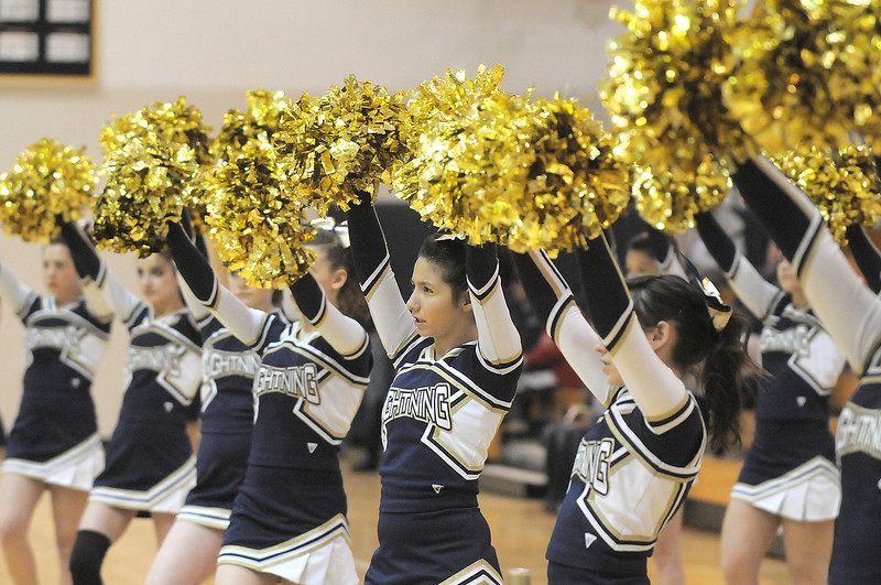 Legacy's cheerleaders lead a cheer during Tuesday's state 5A playoff game against Doherty at Legacy.<br /> <br /> March 1, 2011<br /> staff photo/David R. Jennings