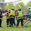 North Metro Fire Rescue district firefighters load student volunteer, Kelsie Richardson, onto an Air Life helicopter during the pre-prom drunk driving mock accident demonstration at Legacy High School on Thursday.<br /> <br /> April 26, 2012 <br /> staff photo/ David R. Jennings