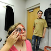 """Kelsie Richardson has her accident """"victim"""" make up on by Amanda Chrock, with fellow """"victim"""" Sam Thomas for the pre-prom mock drunk driving accident demonstration at Legacy High School on Thursday.<br /> <br /> April 26, 2012 <br /> staff photo/ David R. Jennings"""