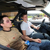 Legacy students Sam Thomas, left, and Joe Konopka act as the drunk drives and passenger during the pre-prom mock drunk driving accident demonstration at Legacy High School on Thursday.<br /> <br /> April 26, 2012 <br /> staff photo/ David R. Jennings